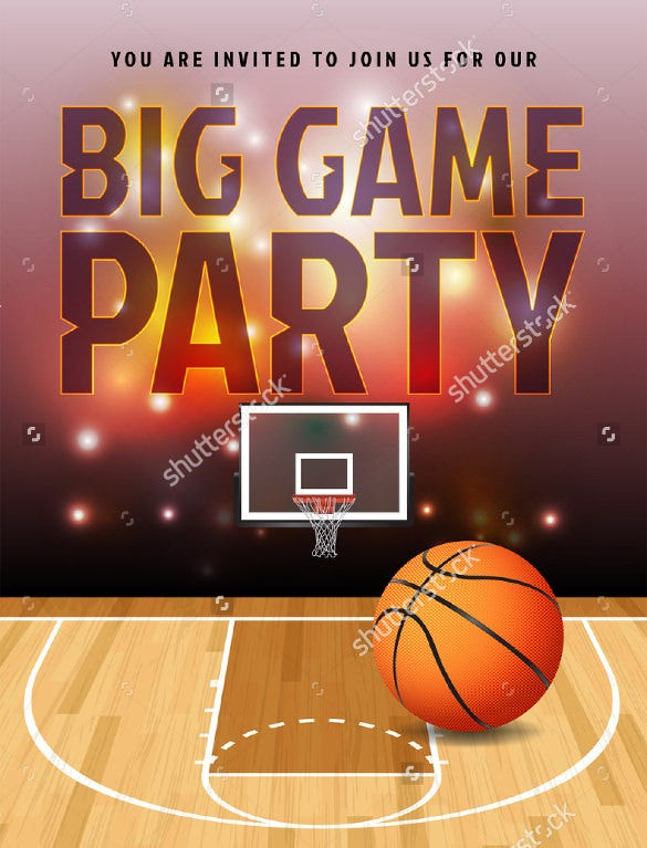 big game party basketball flyer template download