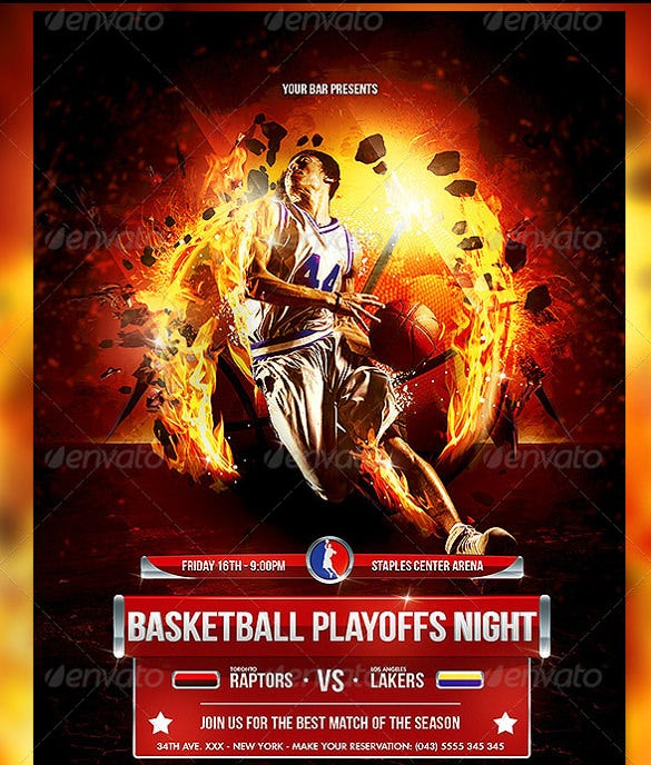 basketball playoffs night flyer template