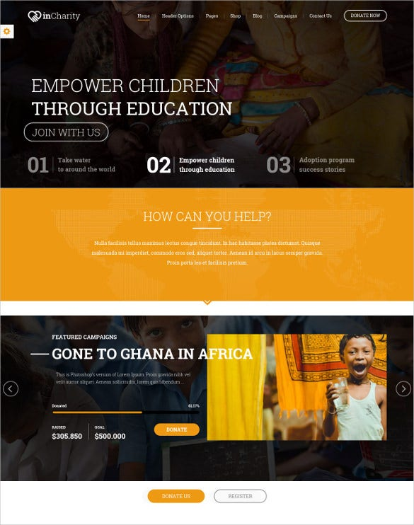 incharity wordpress website theme for non profitoorganization