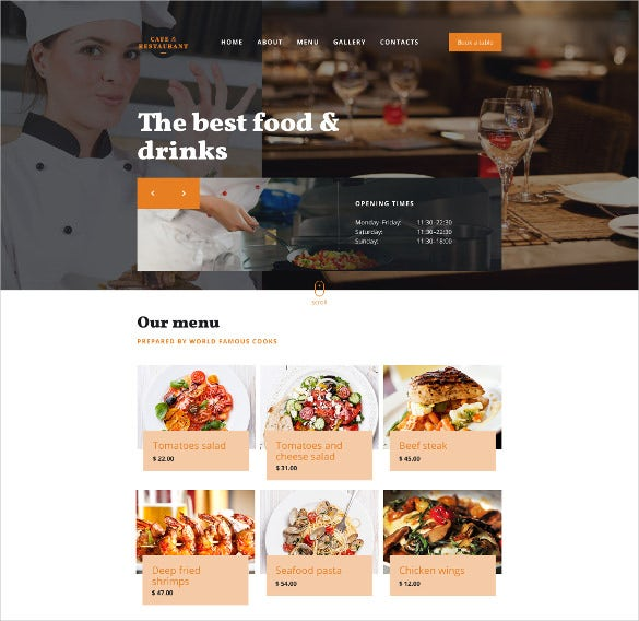 cafe restaurant responsive cool website template