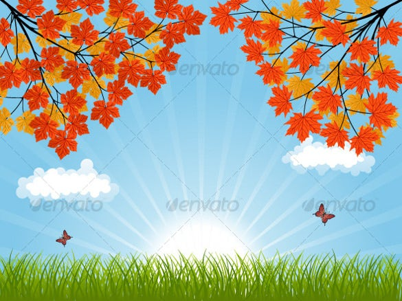 sun view fall background template