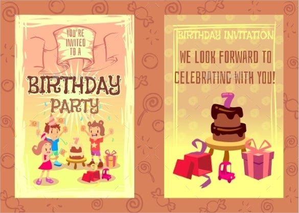 birthday party invitation card vector template