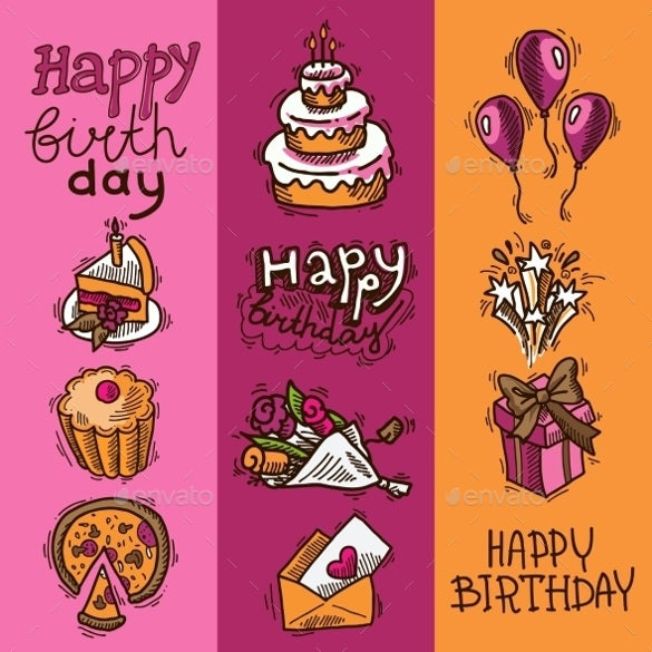 birthday sketch banner set template
