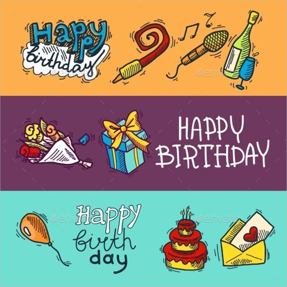 birthday sketch banner template