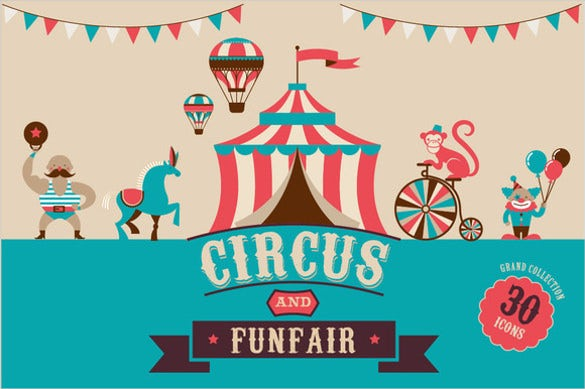 circus funfair birthday party banner templates