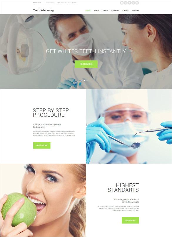 teeth whitening medical website template