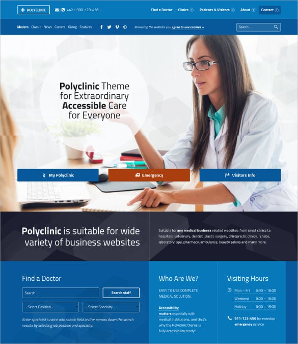 polyclinic accessible medical wordpress websitetheme
