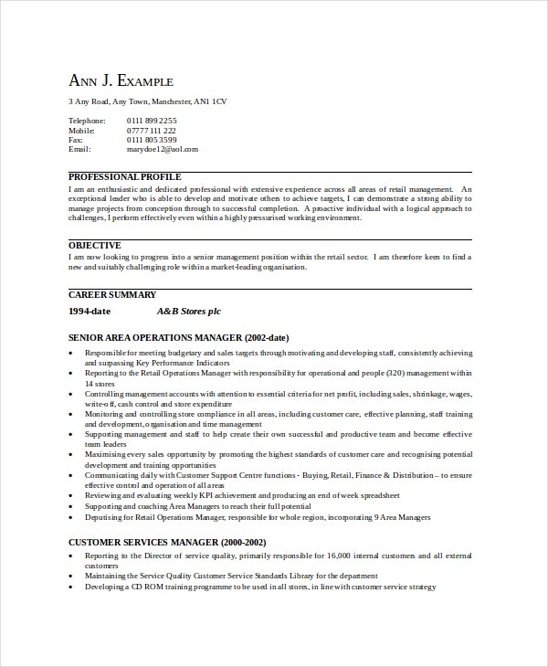 area sales manager resume