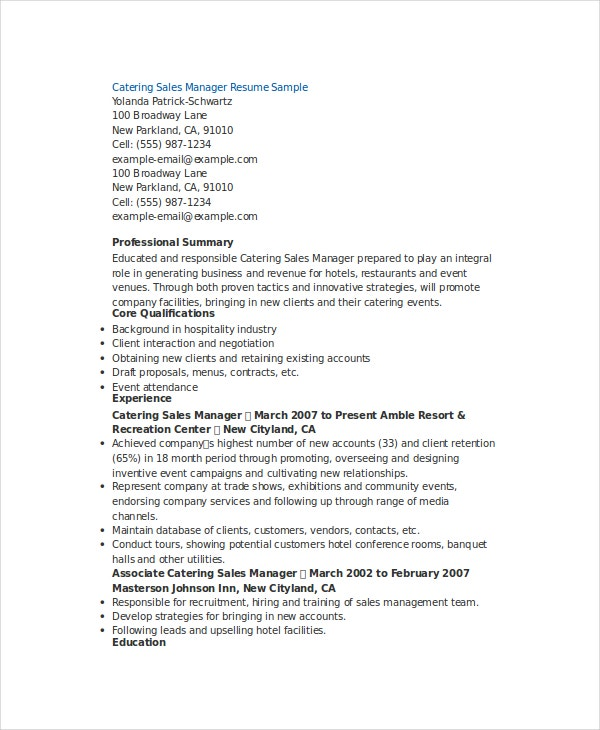 catering manager sle resume