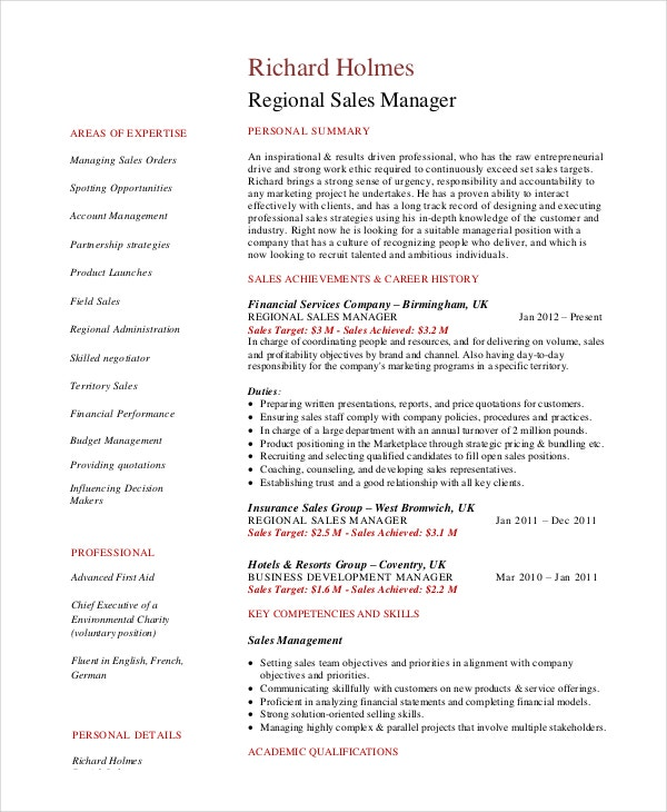 Sales Manager Resume Template - 7+ Free Word, Pdf Documents