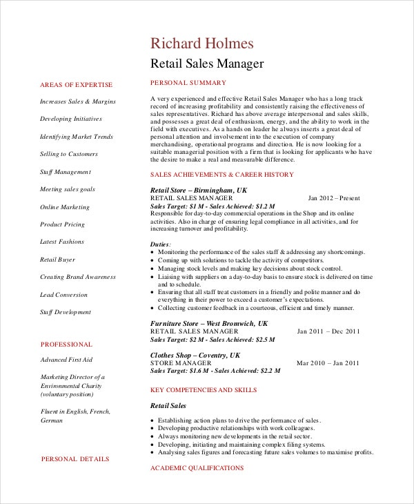 Resume Template Retail Sales Manager