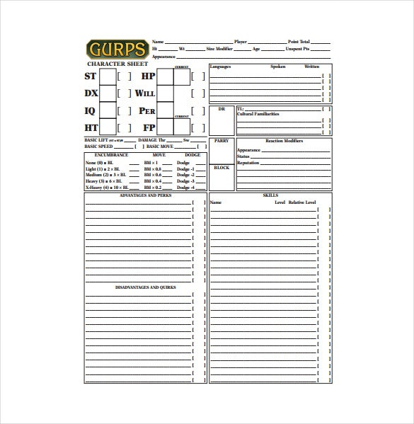 Sample Character Sheet Templates  Free Sample Example Format
