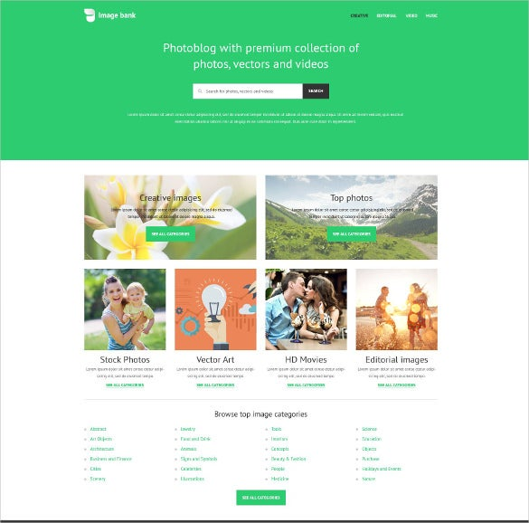 image bank photo website template