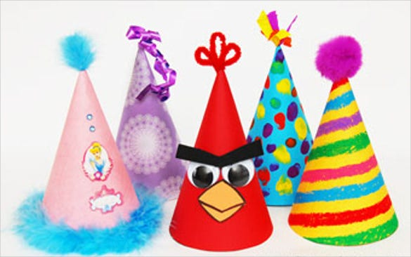 cone shaped birthday party hat template