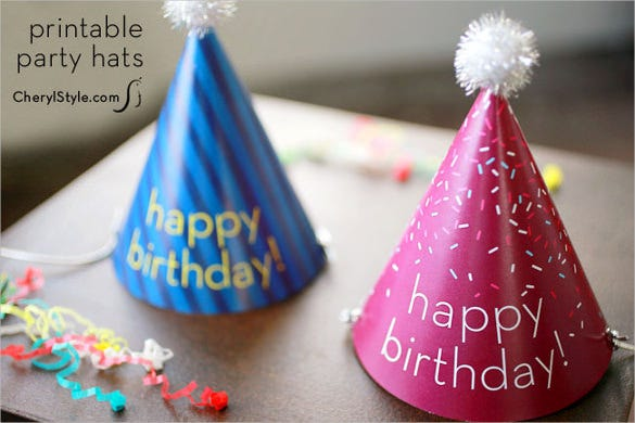printable birthday party hats template