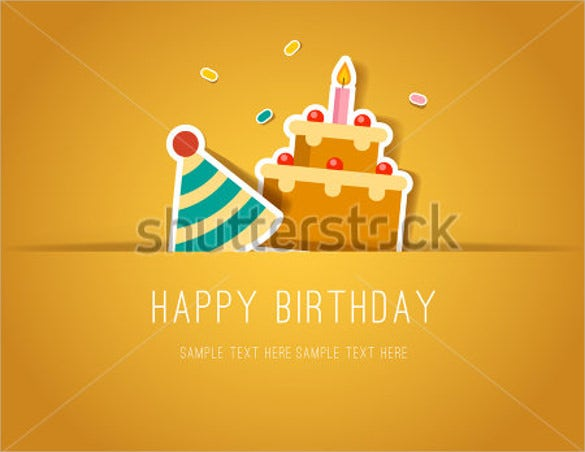 birthday paper cut card with cake and party hat template