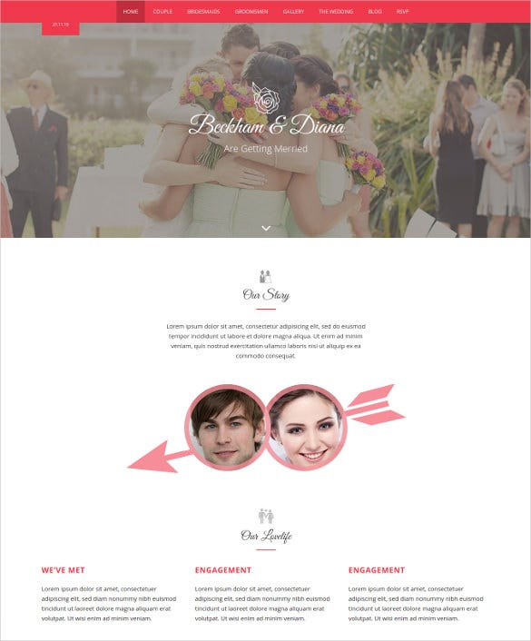 responsive html5 wedding photo website template
