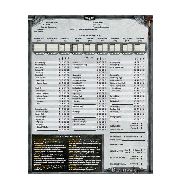 deathwatch character sheet pdf template free download