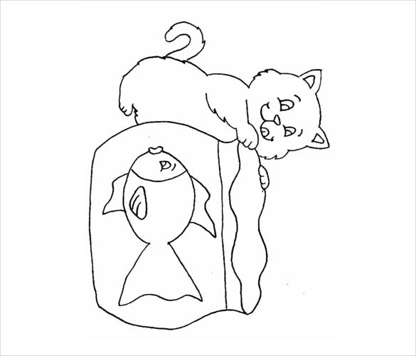 cat drawing with fish free template download