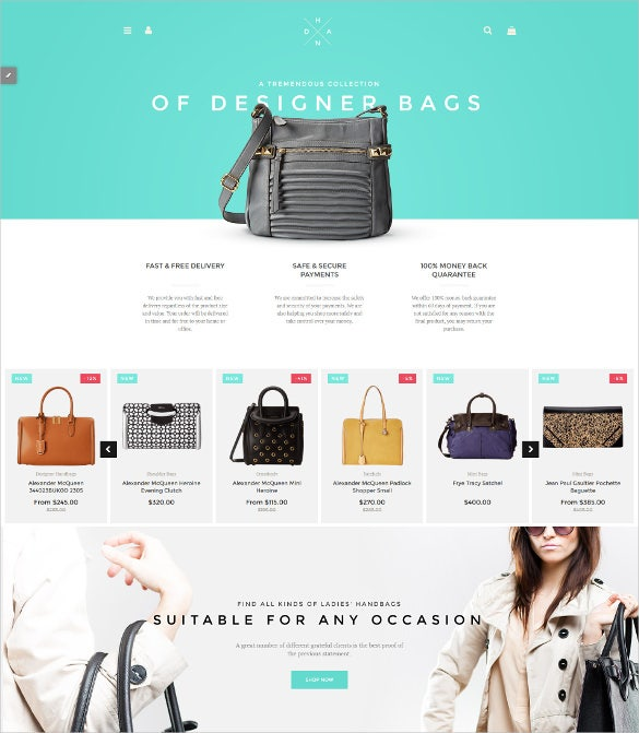 handbag boutique shopify website theme
