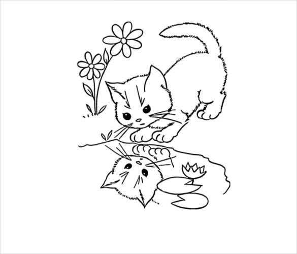 cat drawing printable free download