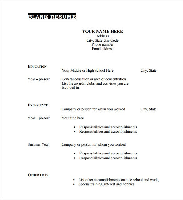 High Quality Printable Blank Resume Template Free PDF Format Download