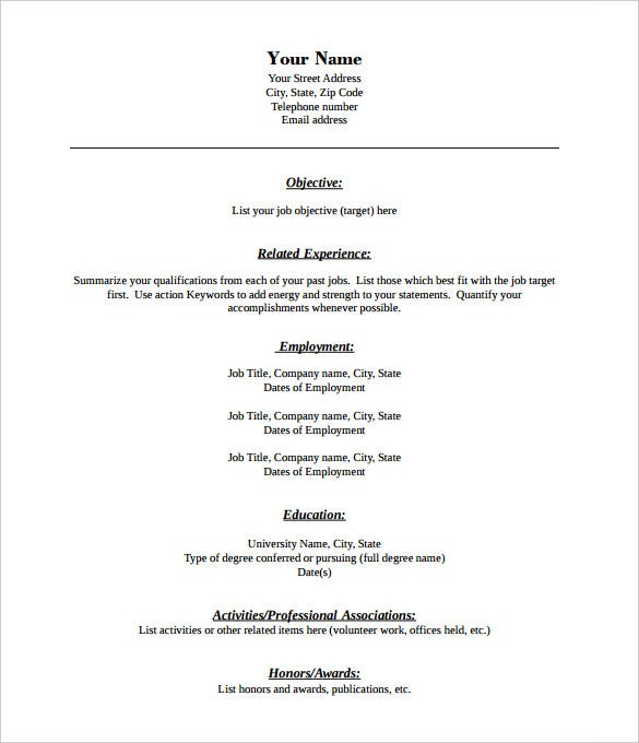 Free Printable Resume Template Blank  Sample Resume And Free