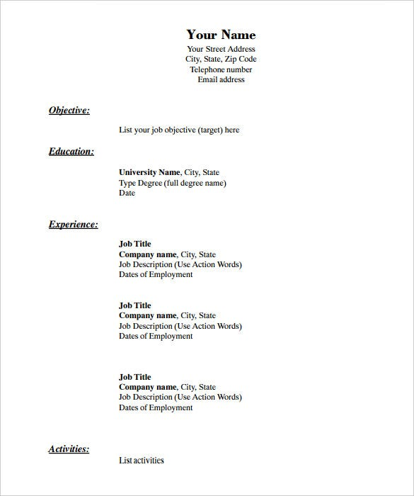 standard resume layout - Template