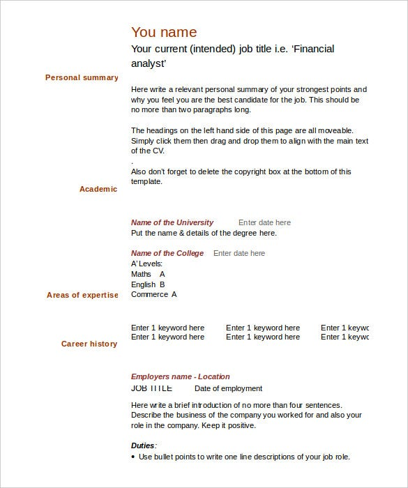 free download blank cv template microsoft word