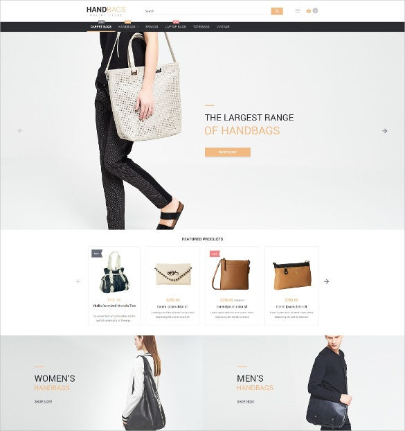 stylish bags boutique magento website theme
