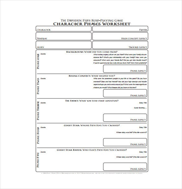 character phases worksheet pdf template free download