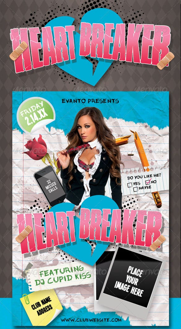 heart breaker tear off flyer template