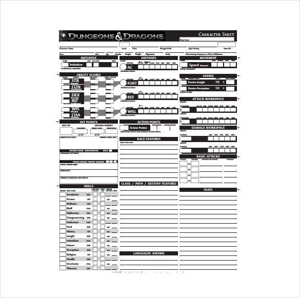 picture regarding Pathfinder Character Sheet Printable identified as Temperament Sheet Template - 8+ Cost-free PDF Files Obtain