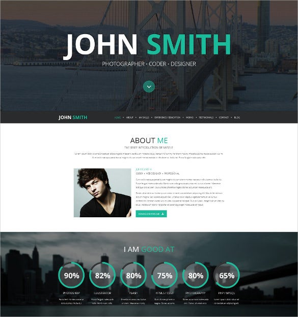 online cv wordpress scrolling website theme