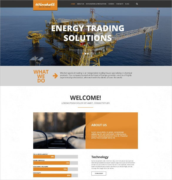 gas oil trading wordpress scrolling website theme