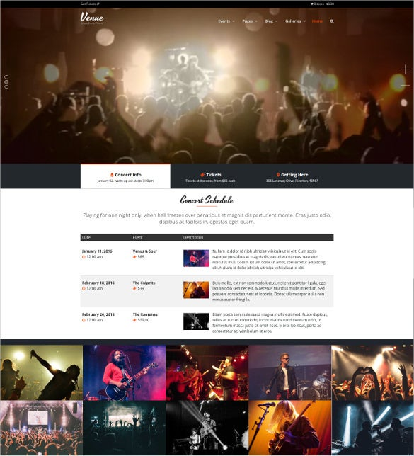 simple events scrolling wordpress website theme