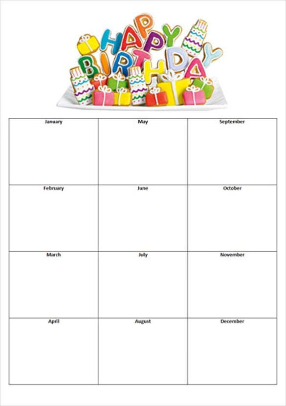 Free Birthday List Template  Free Birthday Templates For Word