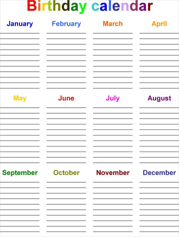 colorful birthday calendar list template