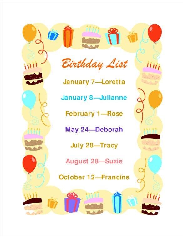 Birthday List Template – 12+ Free PSD, EPS,In Design ...