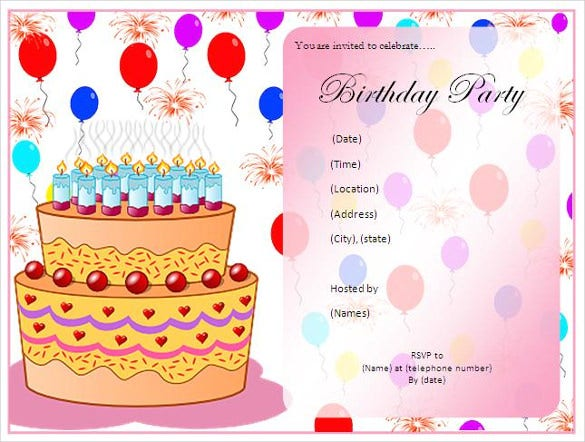 birthday party list invitation template