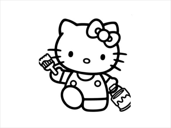 Printable Kitty Coloring Page PDF Free Download