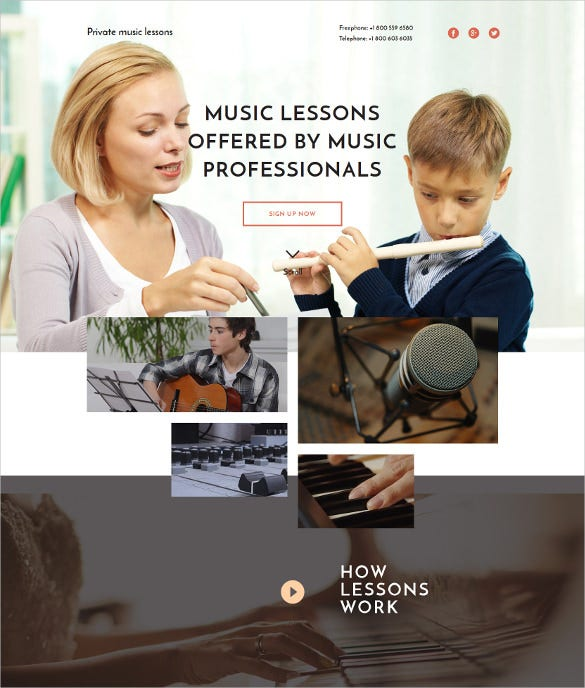 music school responsive html landing page website template