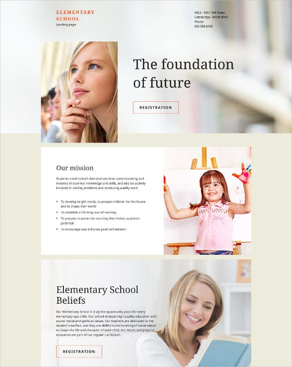 elementary school responsive html landing page website template