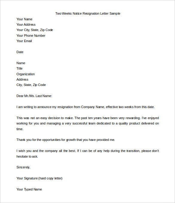 two weeks notice letter word pdf documents two weeks notice resignation letter to organisation sample