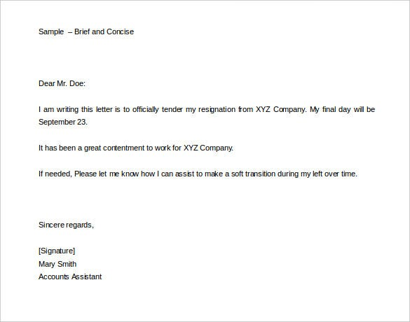 brief and concise two weeks notice letter template editable
