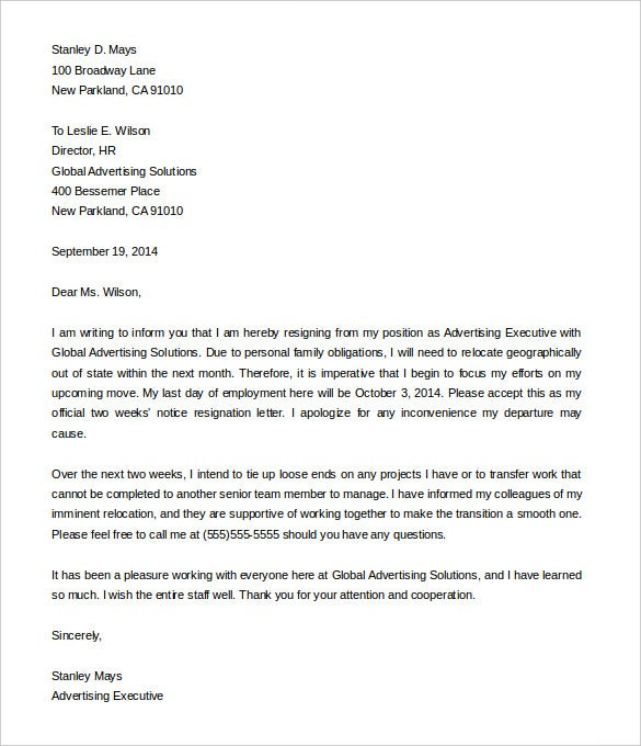Two Weeks Notice Resignation Letter From Advertising Executive Sample  2 Weeks Notice Template