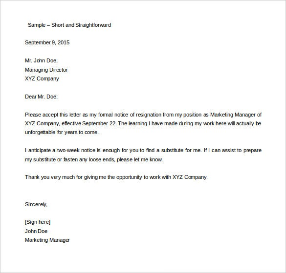 two week resignation letter