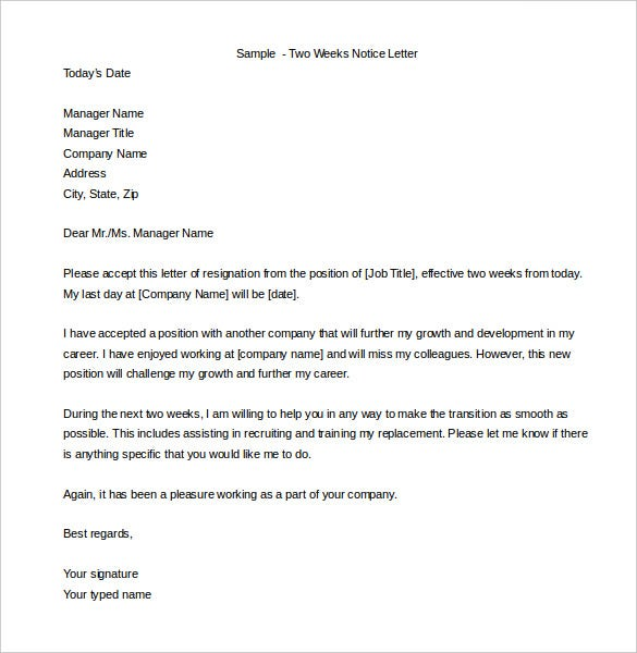 Two Weeks Notice Letter 31 Free Word PDF Documents Download – Letter of Notice