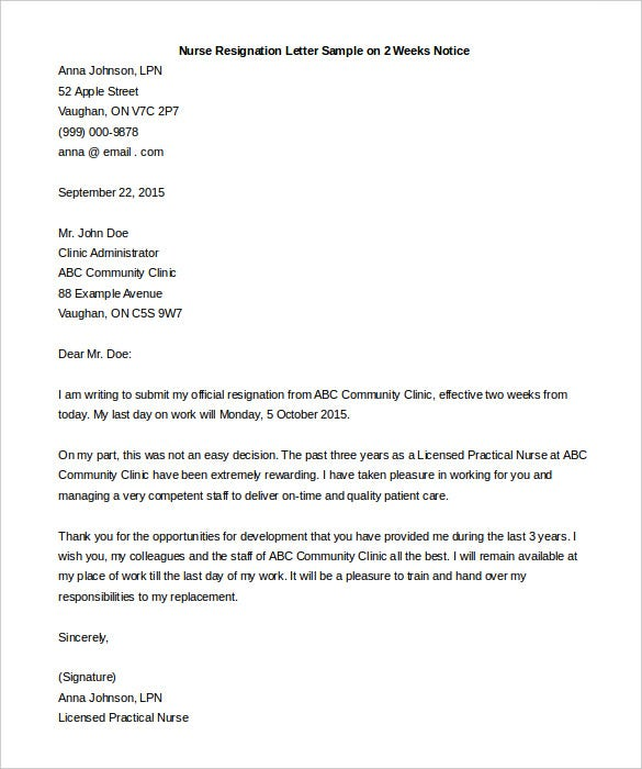nurse resignation letter sample on 2 weeks notice free download