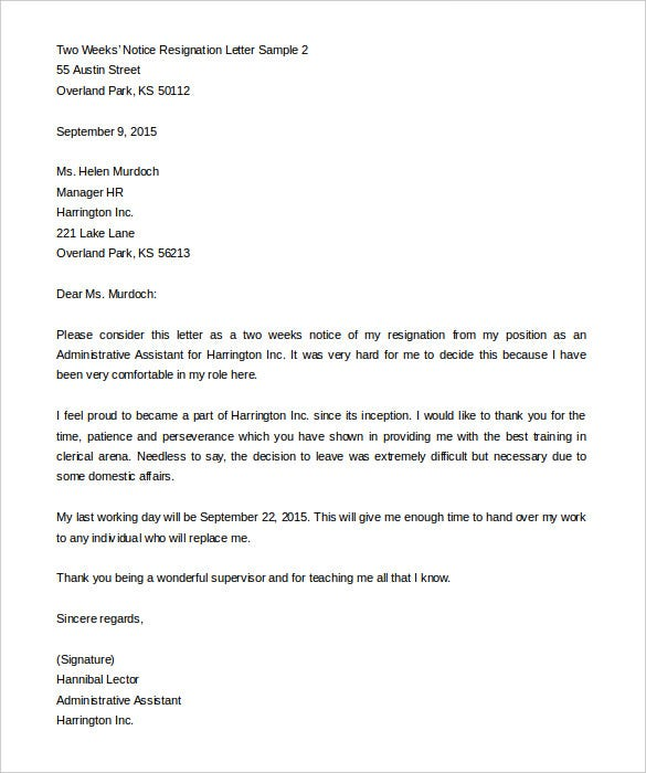 Two Weeks Notice Letter 31 Free Word PDF Documents Download – Template for Resignation Letter Sample